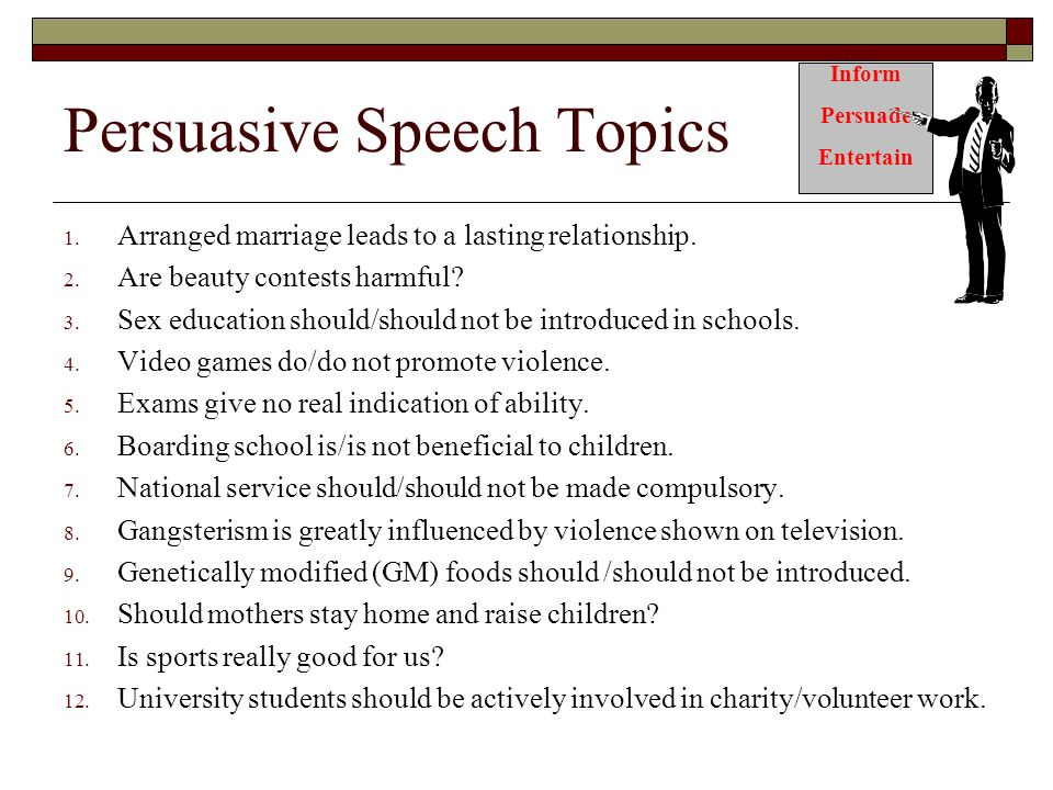 best persuasive speech topics for college
