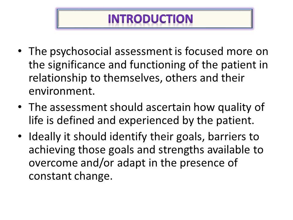 Assessment Psychosocial Health , Self care  Wellness activities
