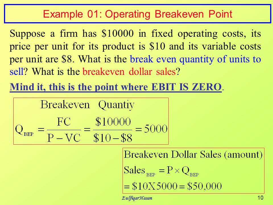 FM/Capital Structure and Leverage - ppt video online download - Sample Breakeven Analysis