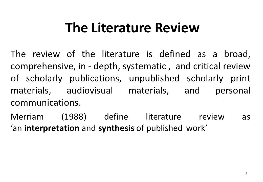 Importance of literature review - ppt download - literature review