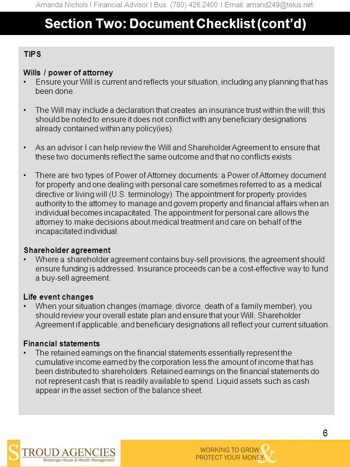 Shareholder Agreement 6 Section Estate Planning Questionnaire - shareholder agreement