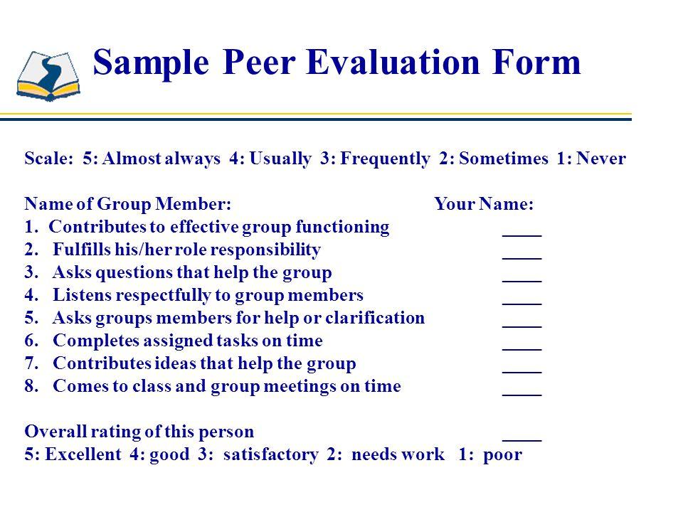 Peer Evaluation Form Peer Evaluation Download Free \ Premium - sample student evaluation forms