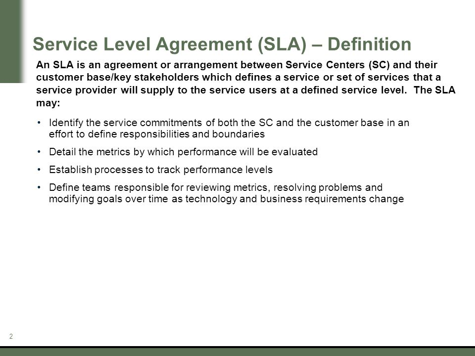 Service Level Agreements - ppt download - business service level agreement