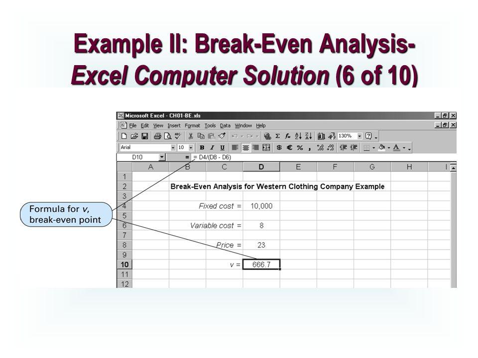 break even analysis excel template
