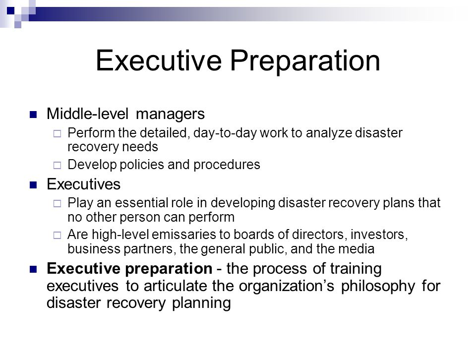 Preparing to Develop a Disaster Recovery Plan - ppt download - recovery plans