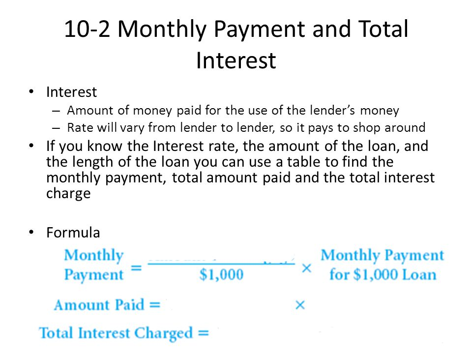 monthly interest payment formula