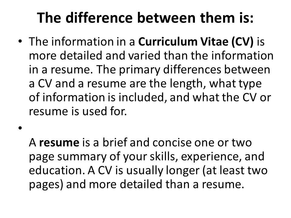 Cv Vs Resume The Differences Cv Vs Cover Letter Cv And Cover Letter