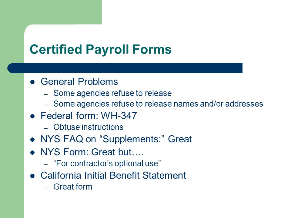 BENEFITS FRAUD ON PREVAILING WAGE JOBS - ppt video online download - certified payroll form