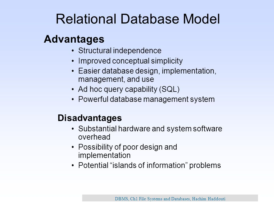 The Description Of The Relational Databases In Database Management