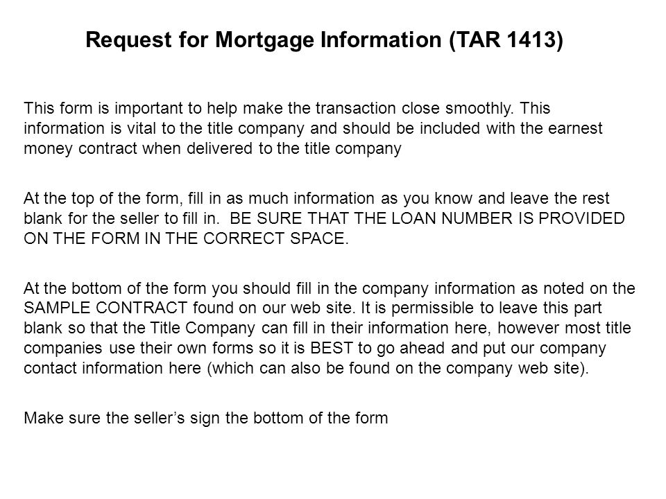Mortgage Information Tar 1413 Request For Mortgage Information