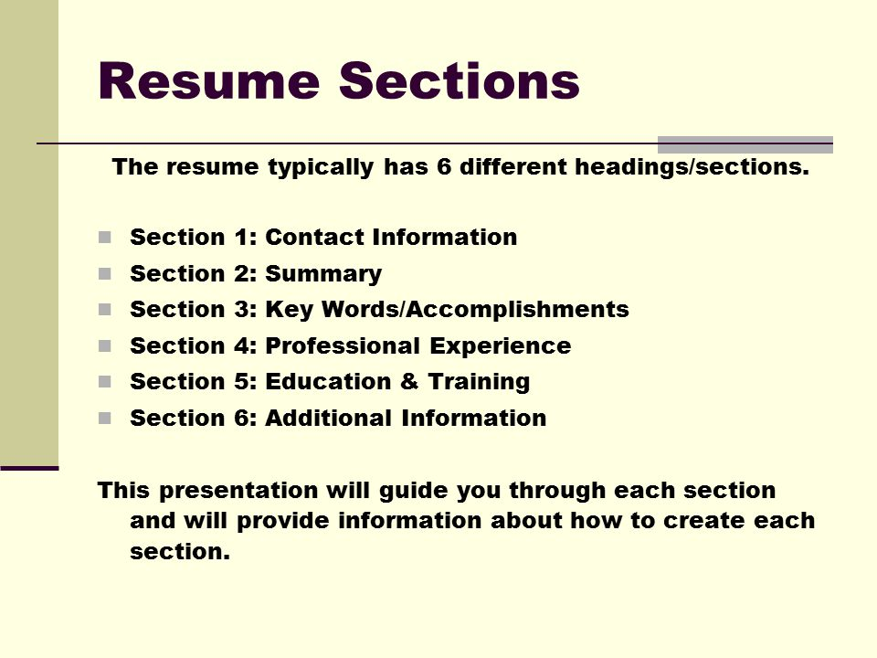 Sections Of A Resume Zrom