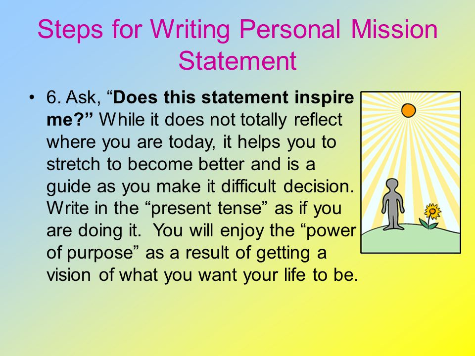 Creating a personal mission statement step by step - Personal