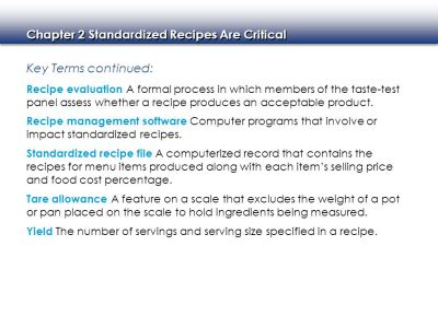 Standardized Recipes Are Critical - ppt video online download