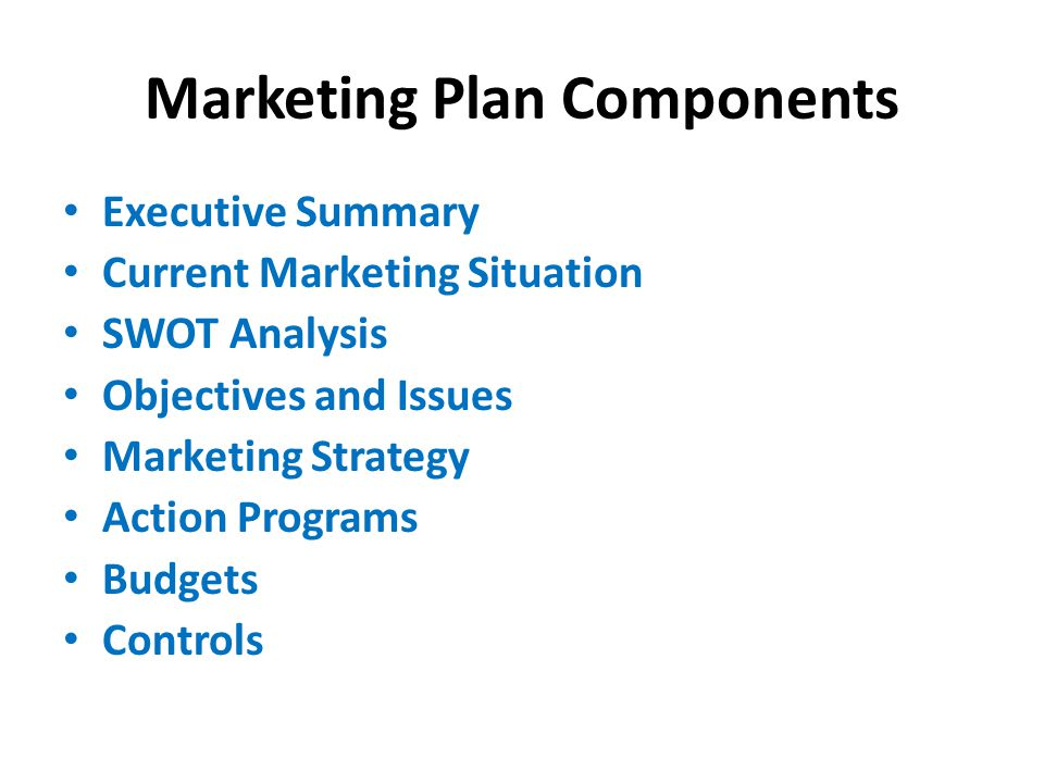 Marketing Plan - ppt video online download - Components Marketing Plan