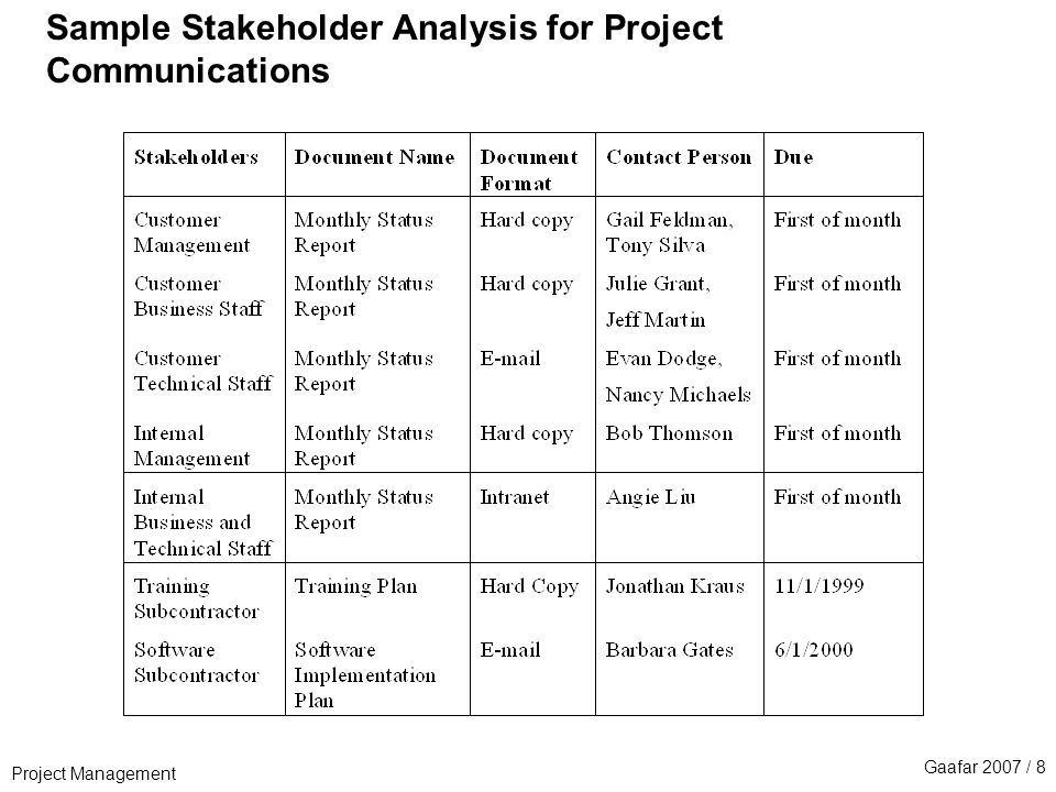 Sample Stakeholder Analysis Stakeholder Register Template Example