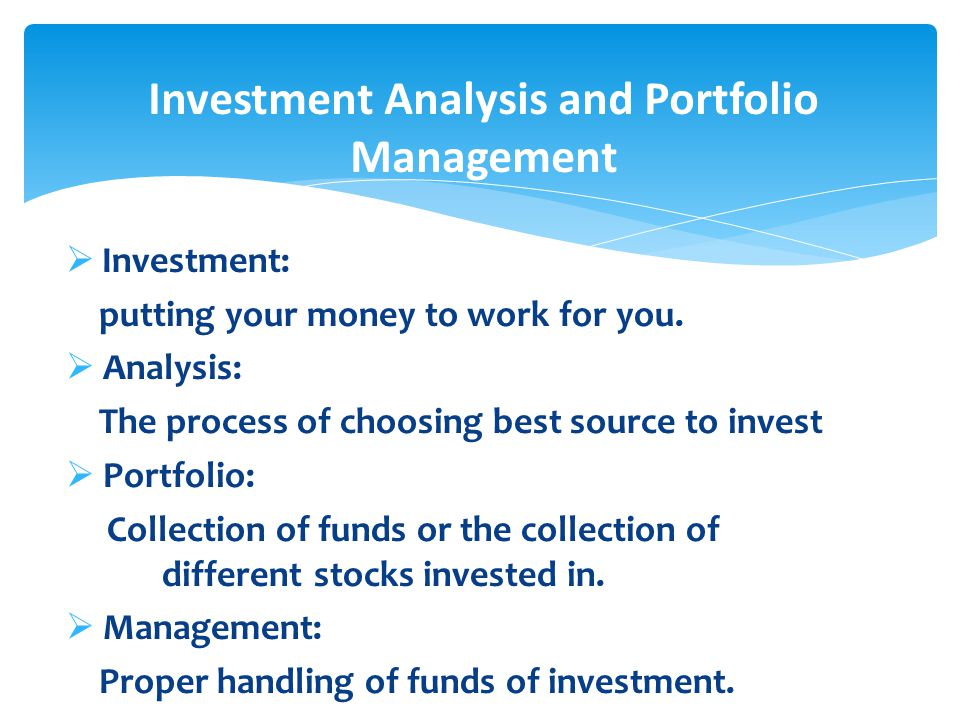 FB  Lec# 1 Chapter # 1 Introduction to Investment Analysis and - investment analysis