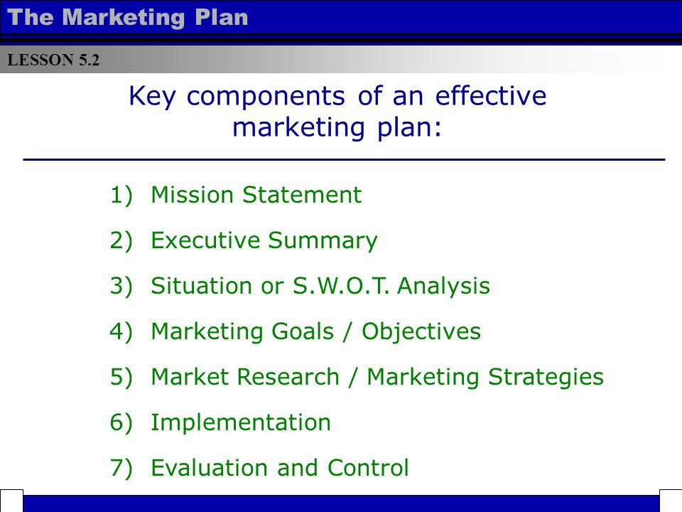 Lesson Components of an Effective Marketing Plan - ppt video - components marketing plan