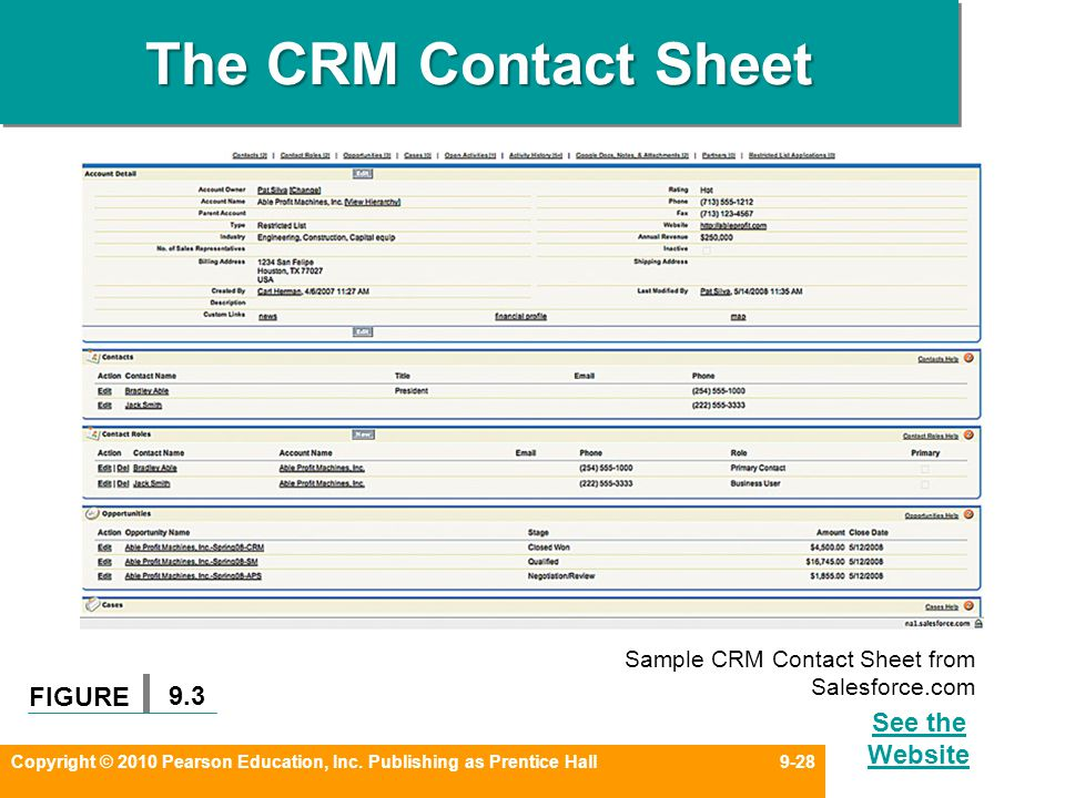 CHAPTER 9 Developing and Qualifying a Prospect Base - ppt video - sample contact sheet