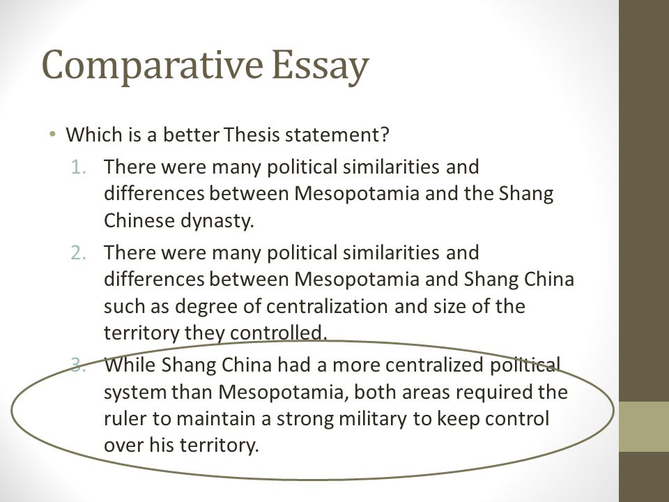 Comparative Essay Thesis - Compare  Contrast Thesis Statement Examples