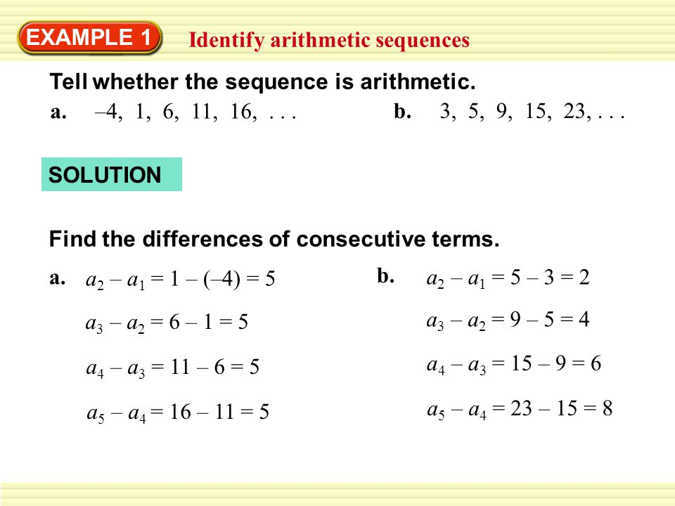 EXAMPLE 1 Identify arithmetic sequences - ppt download - arithmetic sequence example