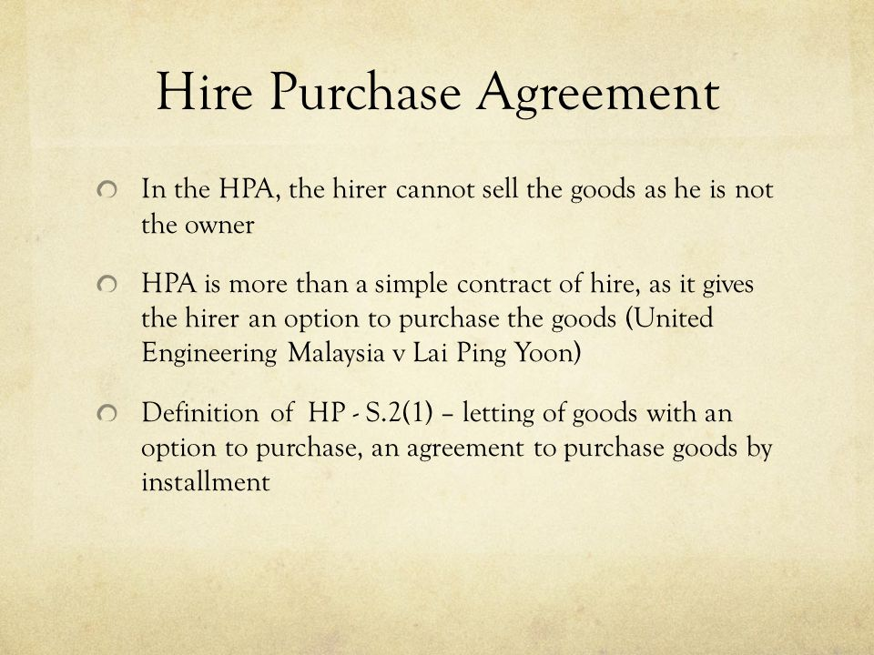 Commercial Law Hire Purchase Law - ppt video online download - commercial purchase agreements