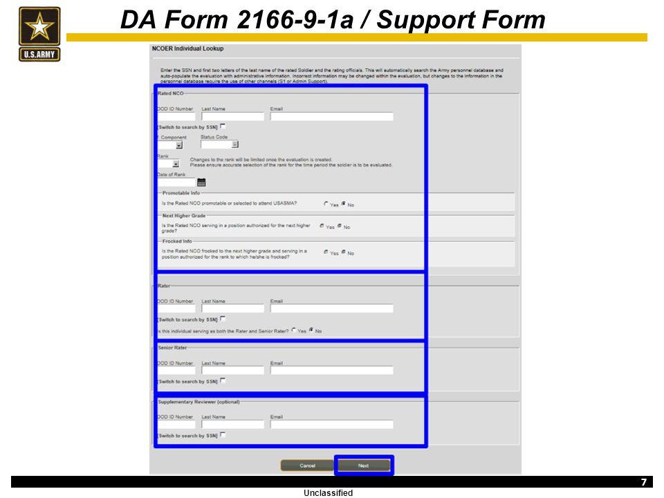 Evaluation Entry System Training (NCOER Support Form) - ppt download - da form