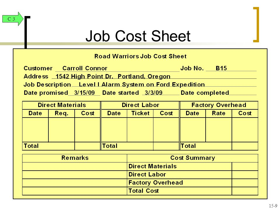Job Order Costing and Analysis - ppt video online download - job sheet example