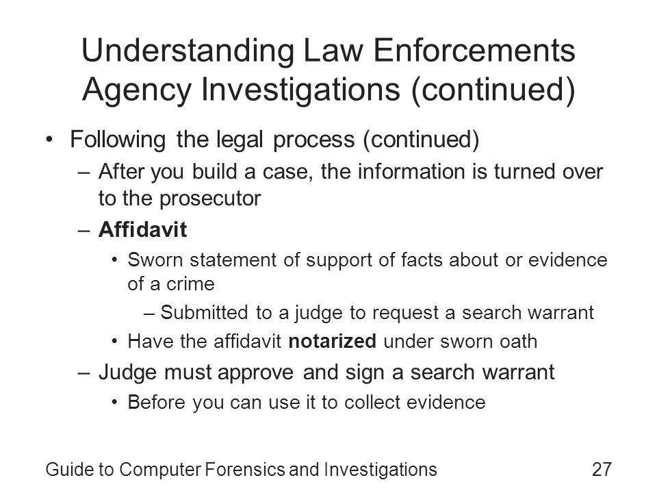 Guide to Computer Forensics and Investigations Third Edition - ppt - affidavit statement of facts