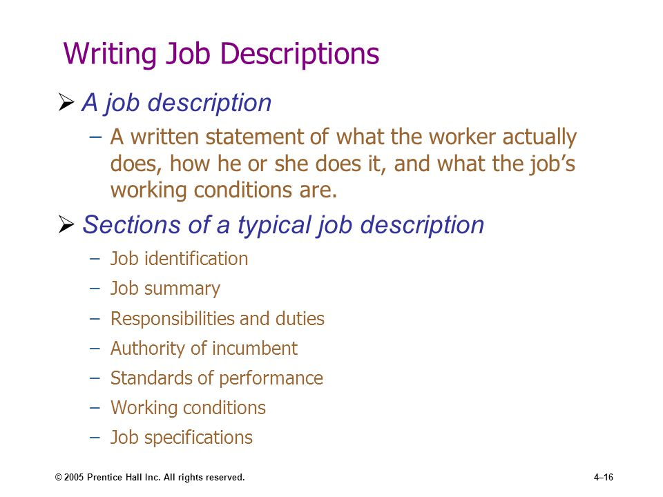 Job Analysis - ppt video online download - writing a job summary