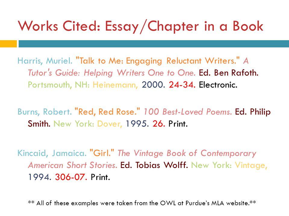 essay works cited mla format works cited co mla citation for essay