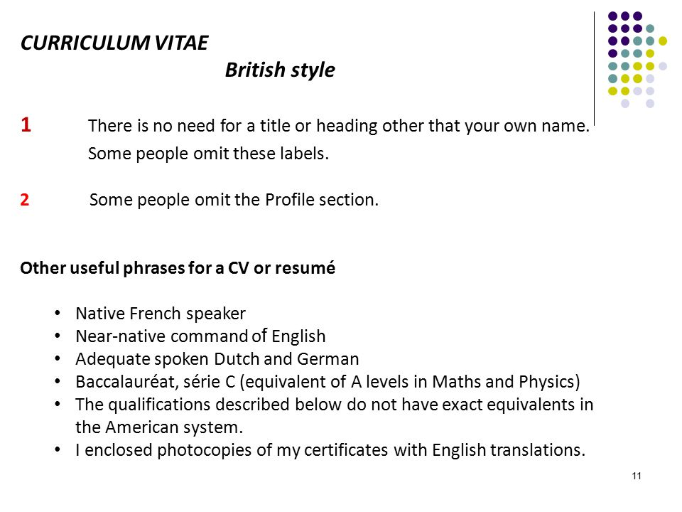 baccalaureat english cv