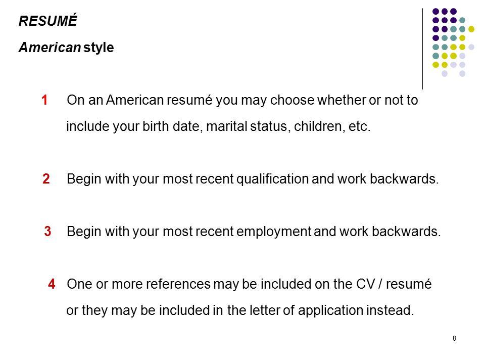 sample resume american style