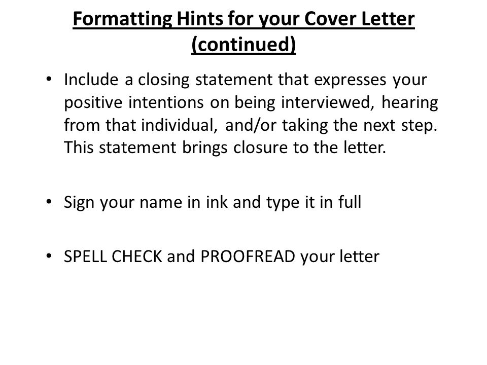 things to include in a cover letters