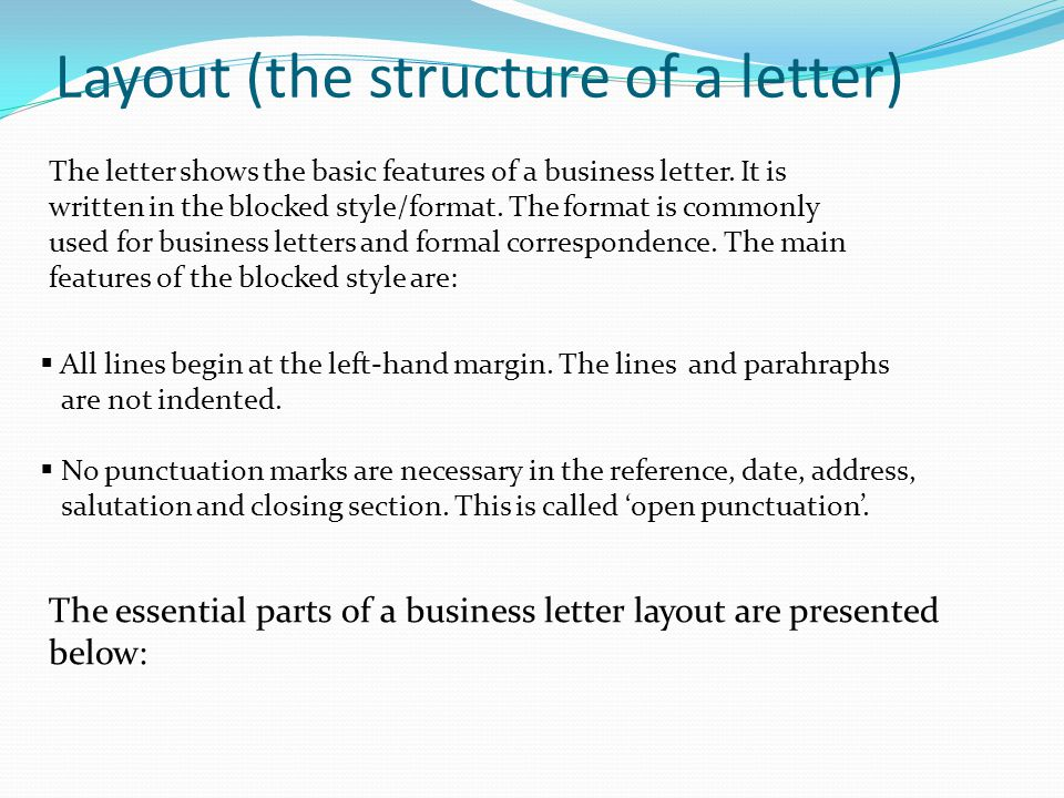 the structure of business letter