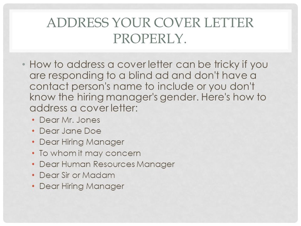 Cover Letter Alternatives For To Whom It May Concern Writing A Cover Letter Tips And Instructions Ppt Video