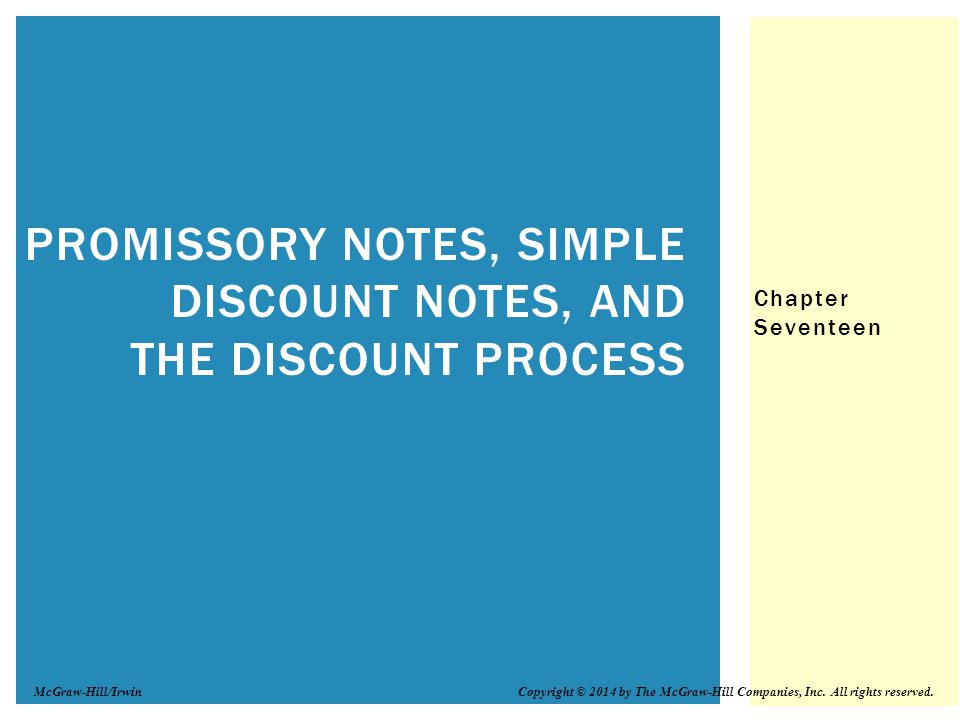 Promissory Notes, Simple Discount Notes, and The Discount Process - promissory notes