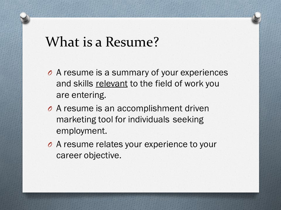 what is a work resume