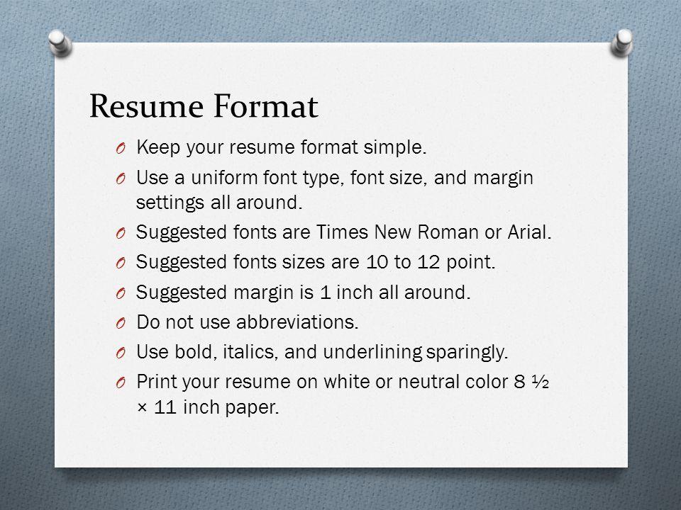 resume margin settings