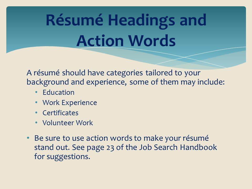 action resume words