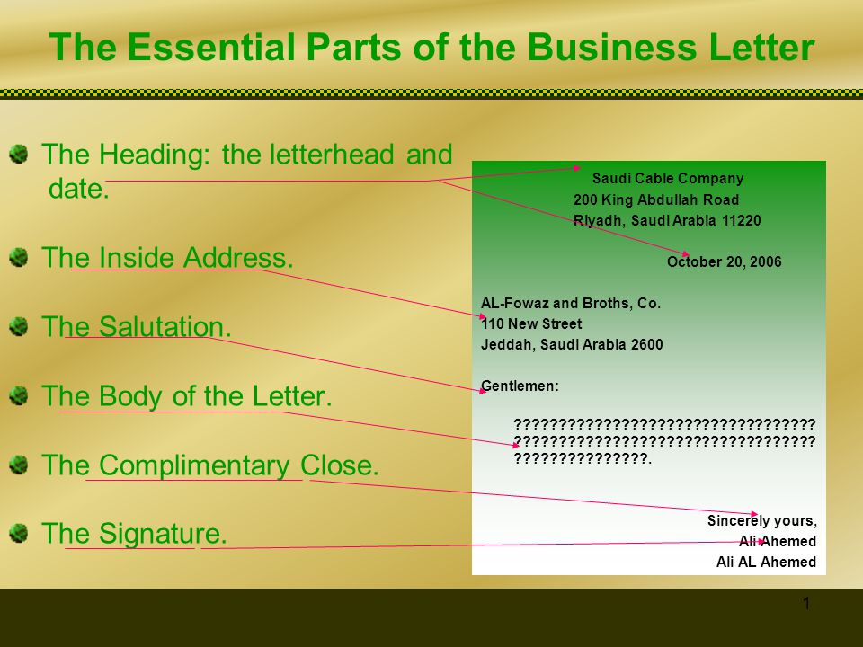 The Essential Parts of the Business Letter - ppt video online download - parts of a business letter
