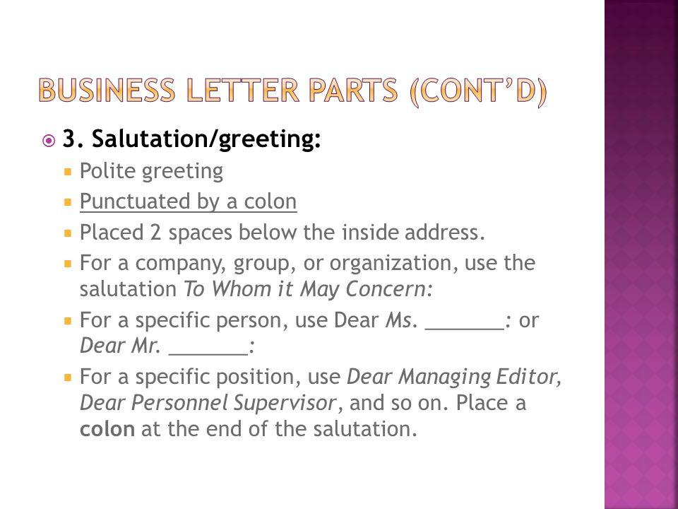 Business Letter Notes Mrs Cook - ppt download - business letter salutation