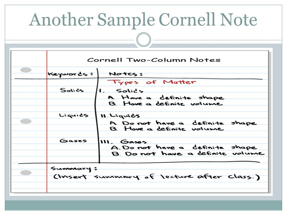 Sample Cornell Note - Sample Cornell Note