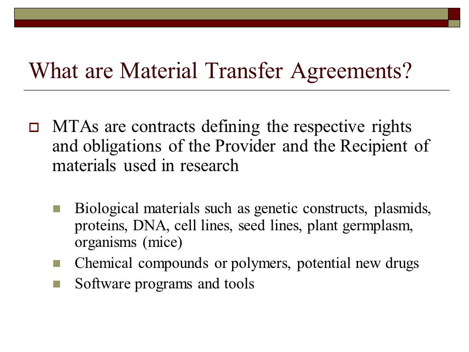 Material Transfer Agreements - ppt download - transfer agreements