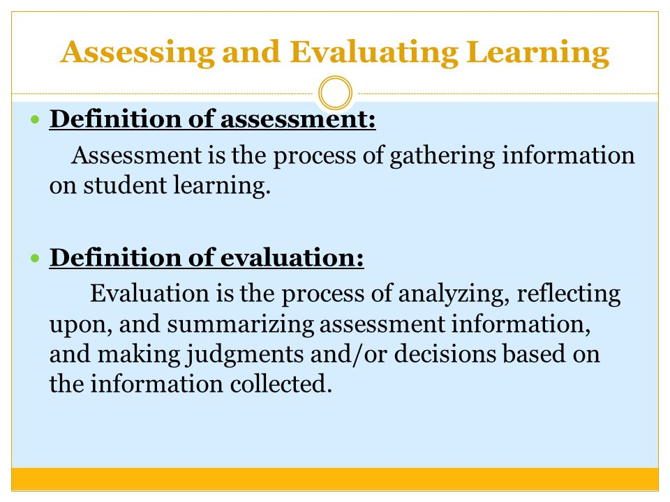 Assessing and Evaluating Learning - ppt video online download