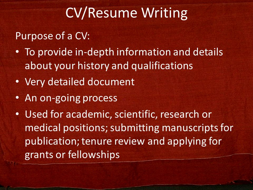 Curriculum Vitae/Resume Writing - ppt video online download - Grant Researcher Sample Resume