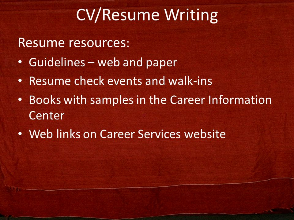 Curriculum Vitae/Resume Writing - ppt video online download