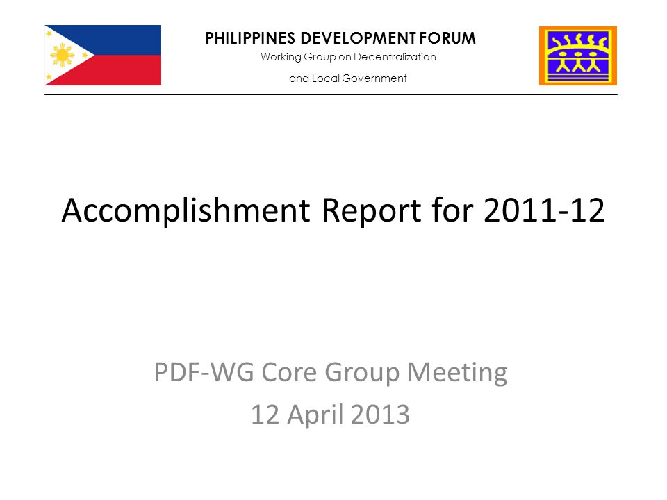 Accomplishment Report for - ppt video online download
