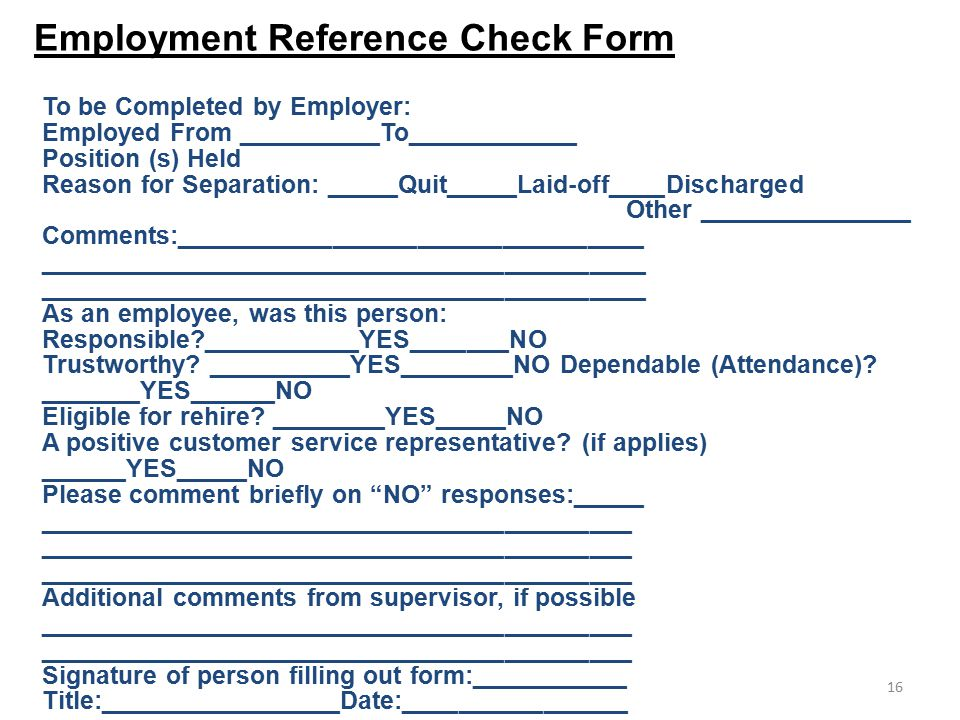 Employee Reference Check Template - Costumepartyrun