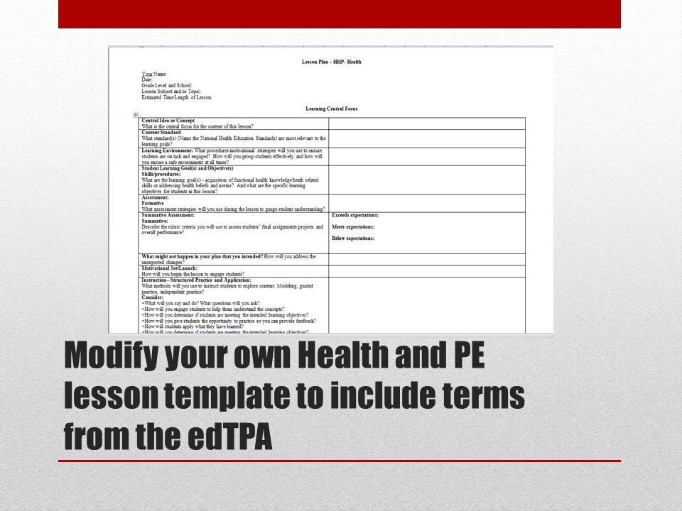 Lesson Plan Physical Education