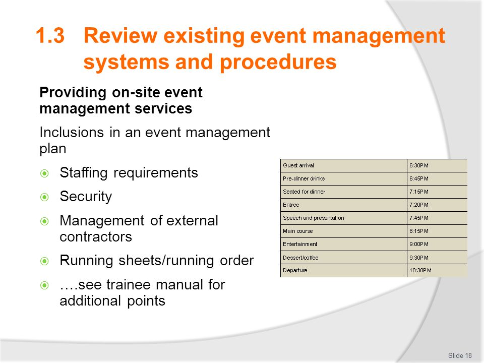 IMPLEMENT EVENT MANAGEMENT SYSTEMS AND PROCEDURES - ppt download - event manual template